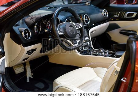 Krakow Poland May 21 2017: Presentation of the inerior of the new Mercedes SL500 Cabrio during MotoShow in Krakow.
