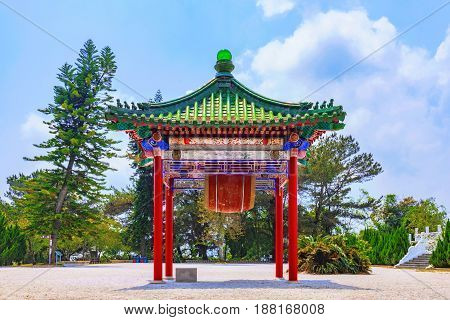 Traditional Chinese pavilion with nature on Sun Moon Lake