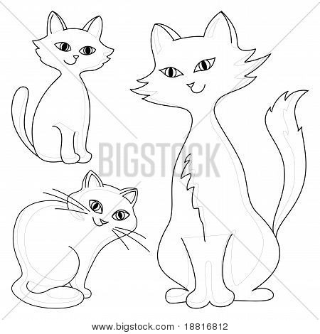 Three kind cheerful domestic cats, monochrome contours poster