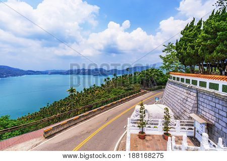 Sun Moon Lake view with a rural road