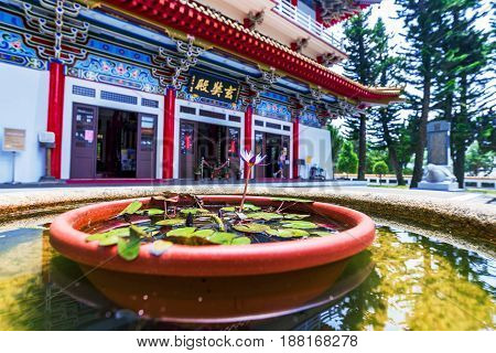 NANTOU TAIWAN - MAY 06: This is an out of focus view of Xuanguang temple a popular buddhist temple located on Sun Moon Lake on May 06 2017 in Nantou