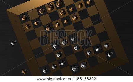 Chess game, gold and silver, 3d render