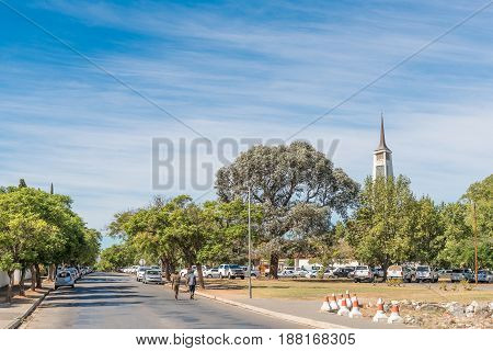 ROBERTSON SOUTH AFRICA - MARCH 26 2017: A Sunday morning street scene at the Dutch Reformed Church Robertson East on the scenic Route 62 in the Western Cape Province