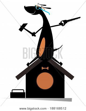 Dog a builder isolated. Comic dog holds a hammer and hacksaw and renovates doghouse