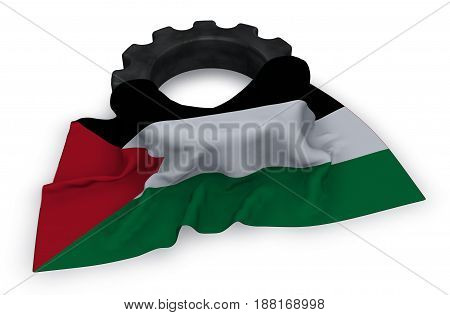 gear wheel and flag of Palestine - 3d rendering