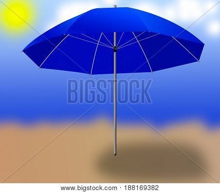 isolated blue sun  umbrella  on the background
