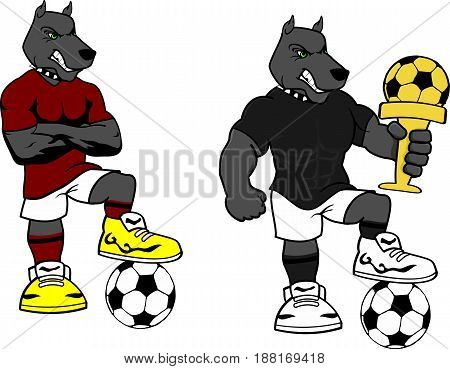 soccer futbol strong dog cartoon set in vector format very easy to edit