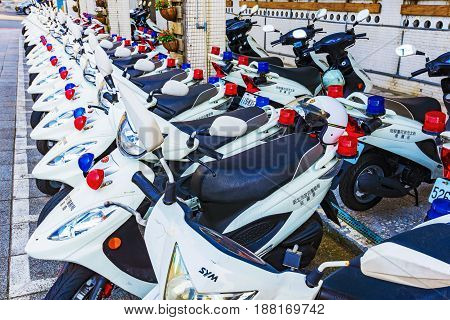 TAIPEI TAIWAN - APRIL 30: This is a row of police motorbikes which is a common form of transportation for the polce on April 30 2017 in Taipei