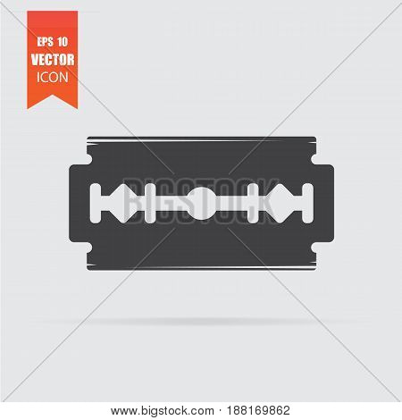 Razor Blade Icon In Flat Style Isolated On Grey Background.