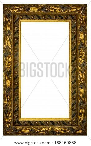 Rectangular Gilded Frame Isolated with Clipping Path on white background