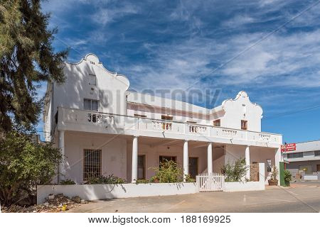 MCGREGOR SOUTH AFRICA - MARCH 26 2017: The old hotel built 1936 and and a liquor store in McGregor a small town in the Western Cape Province
