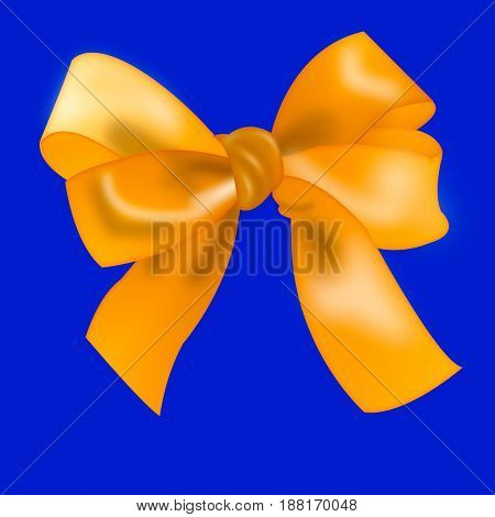 isolated Golden bow. ribbon tied in a bow knot