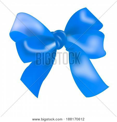 isolated blue bow. ribbon tied in a bow knot