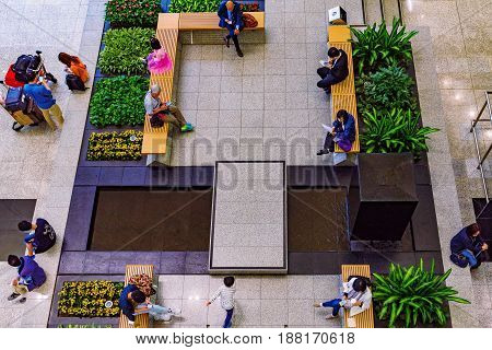 HONG KONG CHINA - APRIL 27: This is a waiting area on the ground floor of the Hong Kong international airport on April 27 2017 in Hong Kong