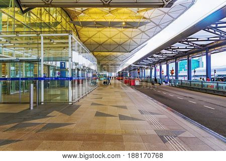 HONG KONG CHINA - APRIL 27: This is the entrance and bus stop for Hong Kong international airport which is the main airport on April 27 2017 in Hong Kong