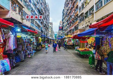 HONG KONG CHINA - APRIL 27: This is Fa Yuen street market a busy local street market which is also popular with tourists on April 27 2017 in Hong Kong