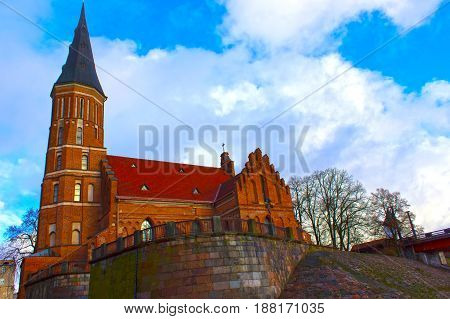 Church of Vytautas in old town. Kaunas at Lithuania
