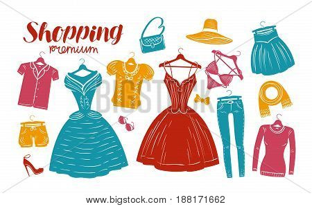 Shopping, fashion, clothes shop, boutique banner. Clothing silhouettes. Vector illustration isolated on white background
