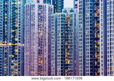 High rise apartment buildings in Hong Kong in the evening