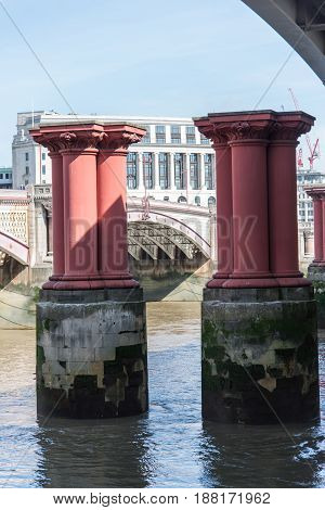 The pillars from the old Blackfriars Bridge London England UK
