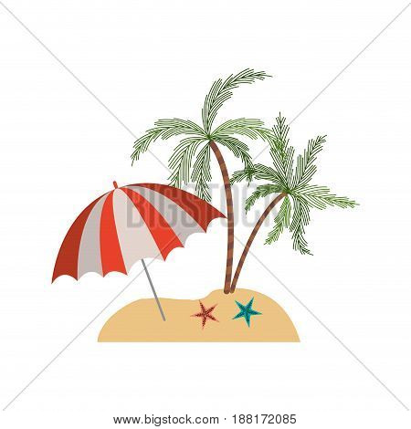 color silhouette of beach with palm trees and starfish and umbrella vector illustration