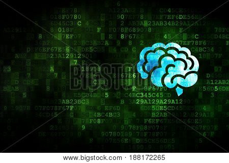 Health concept: pixelated Brain icon on digital background, empty copyspace for card, text, advertising