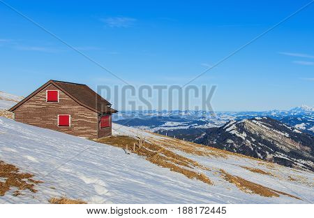 Mt. Rigi, Switzerland - 25 January, 2016: view from the top of the mountain. Mount Rigi is mountain massif of the Alps, located in central Switzerland.