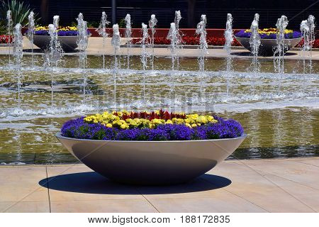 Contemporary style courtyard gardens with manicured plants and flowers including a water fountain beyond