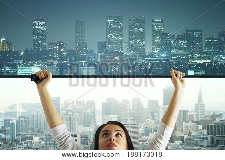 Abstract image of young woman changing daytime city to nighttime