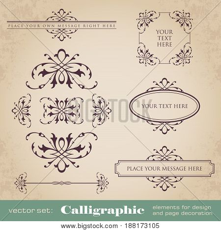 Calligraphic elements for design and page decoration - vector set