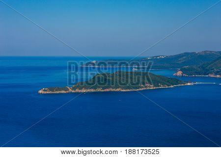 The island of St. Nicholas in Montenegro