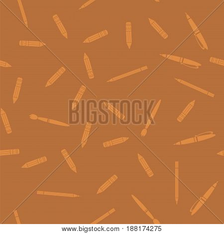 Pen and Pencil Seamless Pattern Isolated on Orange Background