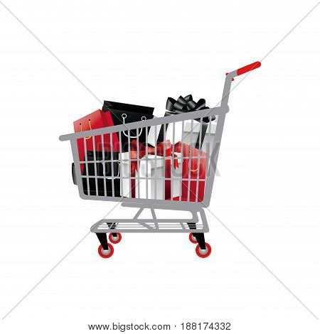 shopping cart full of shopping bags and gift boxes. vector illustration