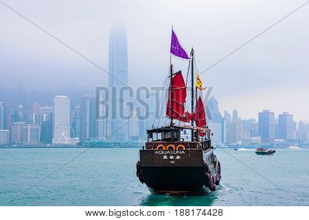 HONG KONG CHINA - APRIL 25: This is a traditional Chinese sailboat which many tourists take to cross over to Hong Kong Island from Kowloon on April 25 2017 in Hong Kong