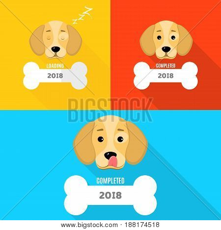 2018 year. The window is loaded in the form of a bone. The dog is asleep. A sweet dog licks himself. Cover for your projects. Year of a dog. Vector illustration in a flat style