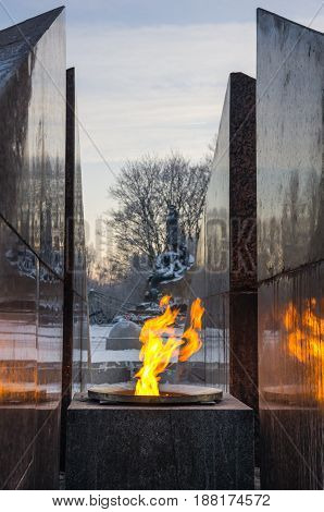 Revolutionary memorial - quenchless flame at Yakornaya square in Kronshtadt Saint Petersburg Russia