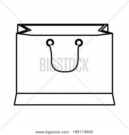 paper shopping bag with handles outline vector illustration