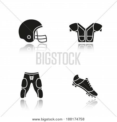 American football player's uniform. Drop shadow black icons set. Helmet, shoulder pad, shoe, shorts. Isolated vector illustrations