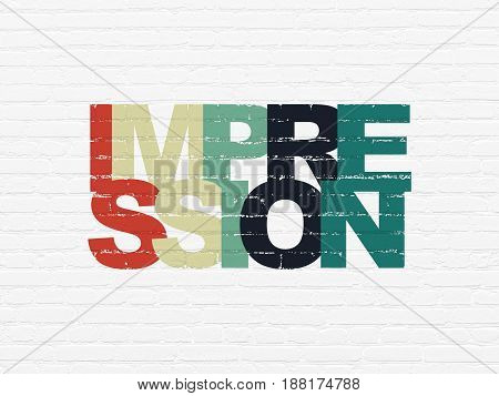 Marketing concept: Painted multicolor text Impression on White Brick wall background