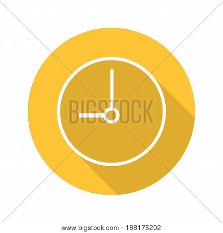 Clock flat linear long shadow icon. Time. Vector line symbol