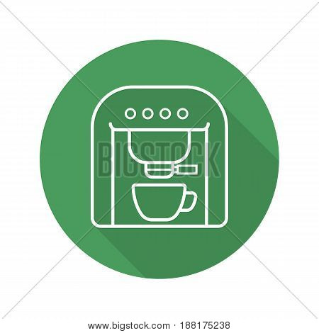 Espresso machine flat linear long shadow icon. Coffee maker. Vector line symbol