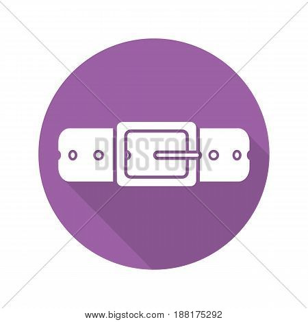 Leather belt flat design long shadow icon. Vector silhouette symbol