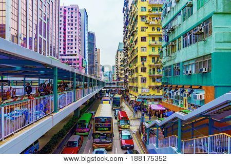 HONG KONG CHINA - APRIL 24: This is a View of architecture and a road with traffic in the busy area of Mong Kok on April 24 2017 in Hong Kong