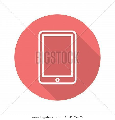 Tablet computer flat linear long shadow icon. Vector line symbol