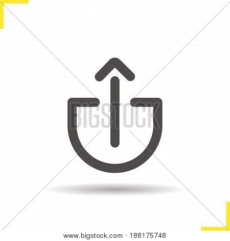 Upload arrow glyph icon. Drop shadow silhouette symbol. Negative space. Vector isolated illustration