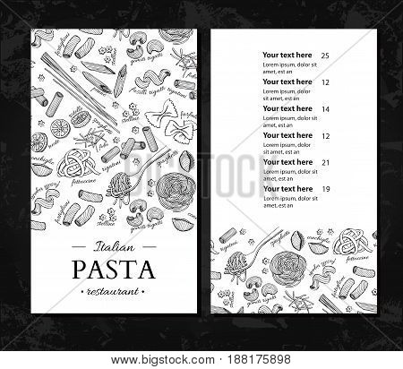 Italian pasta restaurant vector menu. Hand drawn engraved banner. Great for banner, flyer, card, business promote, template, brochure