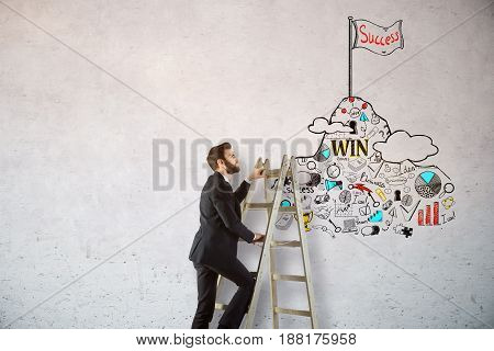 Side view of young businessman climbing ladder on concrete background with business sketch. Leadership concept