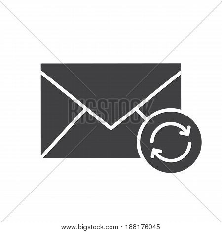 Refresh email glyph icon. Silhouette symbol. Email letter with recycle arrows. Negative space. Vector isolated illustration