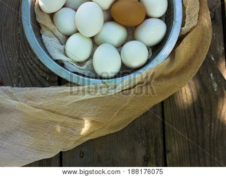 Close up of eggs in a bowl. top view of eggs in bowl. eggs in metal bowl. Chicken Egg. Hen eggs basket