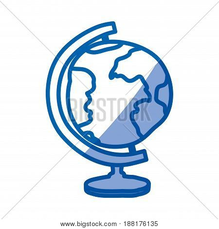 blue shading silhouette of hand drawn earth globe vector illustration